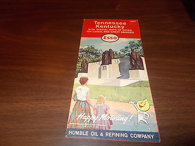 1961 Esso Kentucky-Tennessee Vintage Road Map