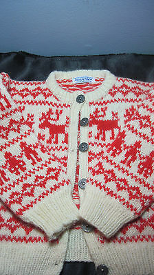 Vintage Norweigan 100% wool child's sweater by HUSFLIDEN, size 7 Metal buttons!