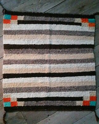 Antique Navajo Chief Rug Saddle Blanket Native American Churro Weaving 30x30