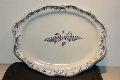 Superbe Plat Moustiers Xviii 18 Eme Old Plate 18 Century
