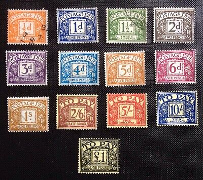 UC13 GB 1959-63 Multi Crown Full Set of 13 FU Postage Due stamps