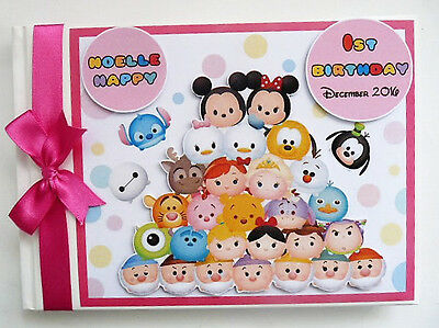 Personalised Tsum Tsum Girl/boy First/1St Birthday Guest Book Any Design