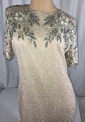 Vintage Stenay Pink Sequined Evening Cocktail Dress Size S-M