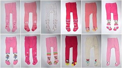 New Girls Baby Children Rich 90% Cotton Soft Tights Size 0-6 6-12 12-18 month