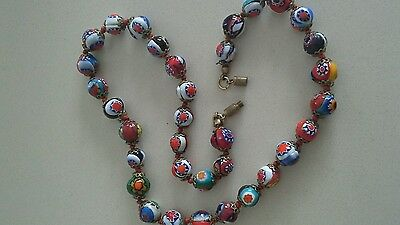 vintage murano glass millefiori beaded necklace