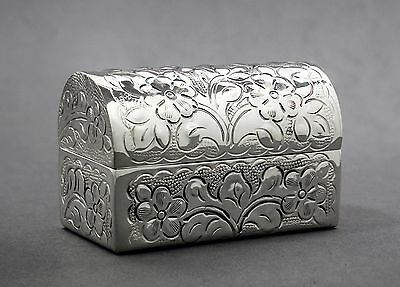 Vintage silver plate domed small repousse floral casket/jewellery/trinket box