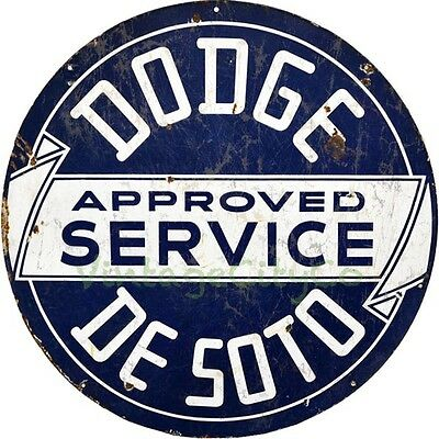 """Antique Style """" Dodge / DeSoto Approved Service """" Round Metal Sign - Rusted"""