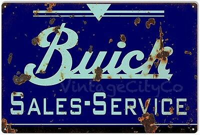 "Antique Style "" Buick - Sales and Service "" Advertising Metal Sign - Rusted"