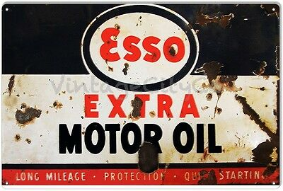 "Antique Style "" Esso Extra - Motor Oil "" Metal Sign - Rusted"