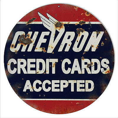 Antique Style Chevron Credit Cards Accepted 14 inches Advertising Metal Sign