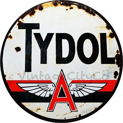 """Antique Style """" Tydol - Flying A """" Metal Sign - Rusted"""
