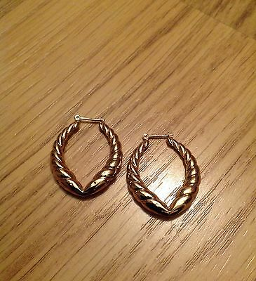9ct Gold Creole Oval Hoop Earrings - Excellent Condition