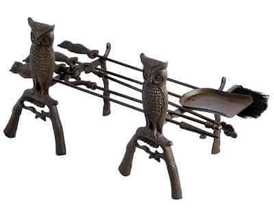 Wise Old Owl Cast Iron Companion Fire Set Hearth 4 Piece Tool Set & Stand