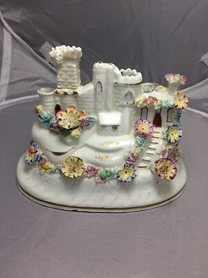 Staffordshire Pottery Castle With Flowers