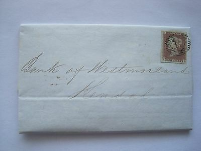 GB 1849 ENTIRE TO KENDAL WITH 3/4 MARGIN 1d RED TO BANK OF WESTMORLAND.