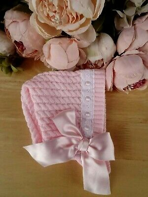 Fine Knitted Pink Baby Girl Bonnet Hat Broderie Anglaise Trim Large Bow 0-3-6-9m