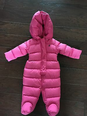 Ralph Lauren Polo Baby Girl Pink Bunting 1 PC Snowsuit Down Fill Size 6M  EUC