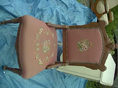 Antique Vintage Embroidered CHAIR WITH CASTERS / ROLLING WHEELS