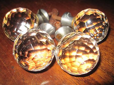 (4) Antique Vintage Faceted Glass Crystal Doorknobs