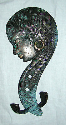 A VERY ATTRACTIVE Beautifully Engraved INDIAN WOMAN BRASS COAT HOOK from INDIA