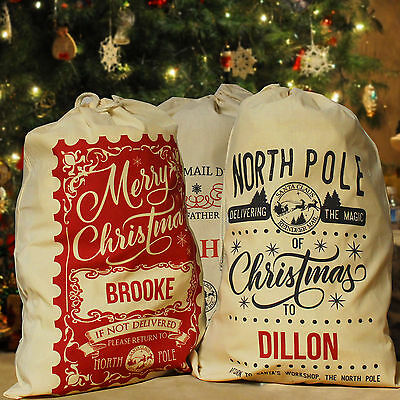 Personalised Christmas Sack Santa Stocking, Any Name Many New Designs & Sizes!