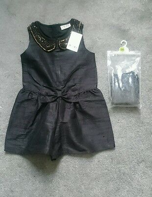 NEW! Stunning outfit 2-3 NEXT embellished playsuit & tights xmas shorts party