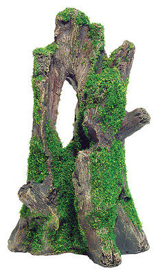 Tree Stump with Moss Aquarium Ornament Fish Tank Decoration