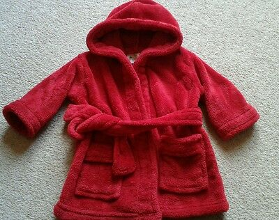 Baby Cosy Hooded Dressing Gown Robe Red size 6 - 12 months Soft Touch