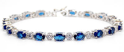 Sterling Silver Blue Sapphire And Diamond 7.86ct Tennis Bracelet (925)