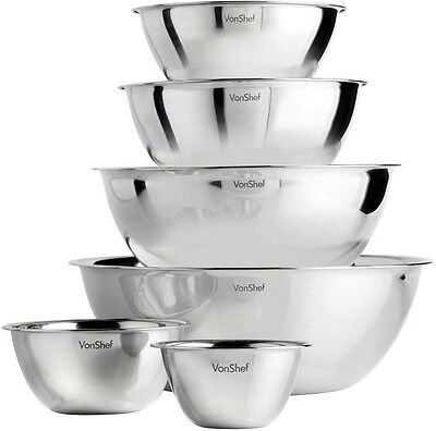 Mixing Bowl Set Of 6 Kitchen Bowls Stainless Steel For Food Preparation