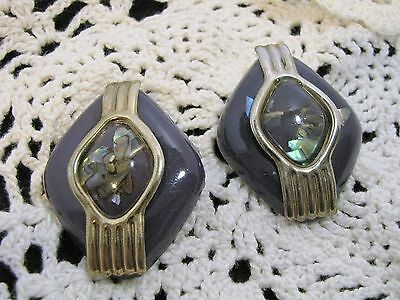 Large 90s Earrings Purple Lucite Confetti Clear Lucite Pierced Earrings Abstract
