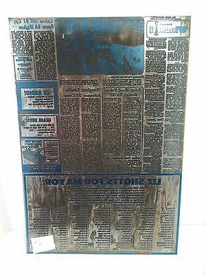Large Metal Newspaper Print Plate Vintage 1970s Home Decor Collectible Repurpose