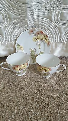 Vintage Somerset Royal Standard China 2 Cups And 1 Tea Plate 16Cms