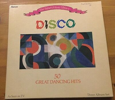 Disco LP Vinyl Box Collection Ronco Music 3 Record Set 50 Great Dancing Hits