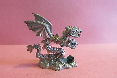Pewter Fantasy Dragon Figurine With Faceted Crystal