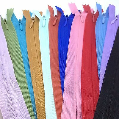 25 Assorted Invisible Concealed Zips -  For Dress Upholstery Craft & Zip Repair