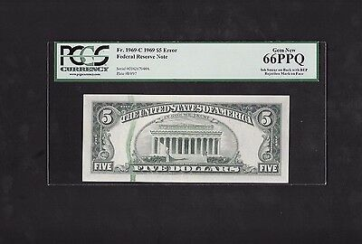 Error Note..1969 $5 Frn, Ink Smear On Back And Bep Mark, Fr# 1969-C, Pcgs 66 Ppq