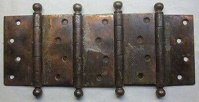 "1 Antique Stanley SW 4-1/2"" Copper Plated Mortise Door Hinge Ball Tip Finials"