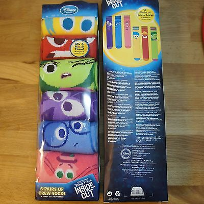 Disney Inside Out Character Socks 6 Pair Gift Pack Size L 13-1