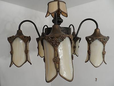Antique Slag Glass Chandelier 5 light Electric Ceiling lamp