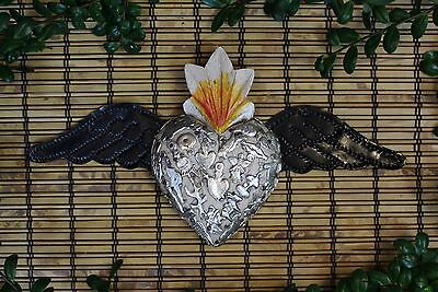 White Wood Heart Tin Wings & Milagros Folk Art Michoacán Mexico Love Token!