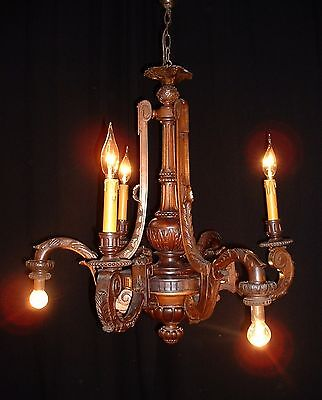 Antique large French carved Oak wood chandelier custom made from 1880's