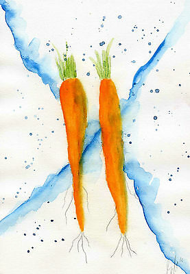 Two carrots - Original watercolour painting signed abstract fruit
