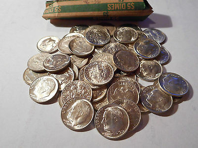 Roosevelt Silver Dimes 50 coins 1946-1956