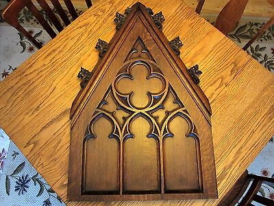 TIGER OAK!  Gothic Church Panel Architectural Steeple Carved Furniture Pediment