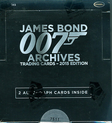 James Bond Archives 2015 Edition Trading Card Box w/2 Autographs