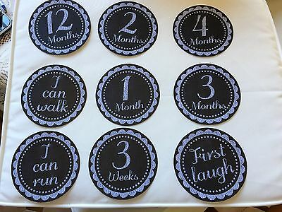 Baby Moments & Milestone Cards New Chalkboard Style 13.5cm Diameter 28 Cards