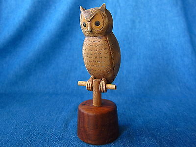 Vintage hand carved wood carving Owl on perch