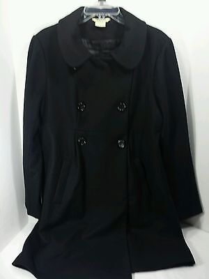 American Star Maternity Black Wool Blend Maternity Coat Jacket Size L Large EUC