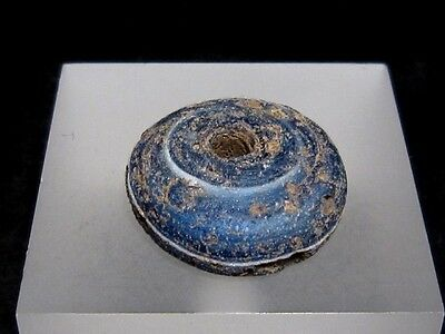 BEAUTIFUL AND RARE ROMAN PERIOD BLUE GLASS SPINDLE WHORL BEAD+++As Found+++